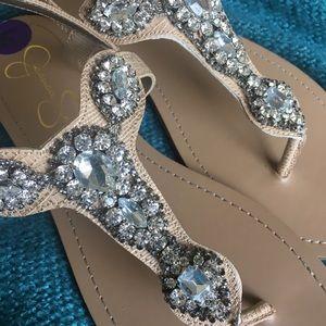 Jeweled Crystal Rhinestone T Strap Sandals